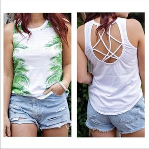 CHASER NWT tank top with palm leaves size L